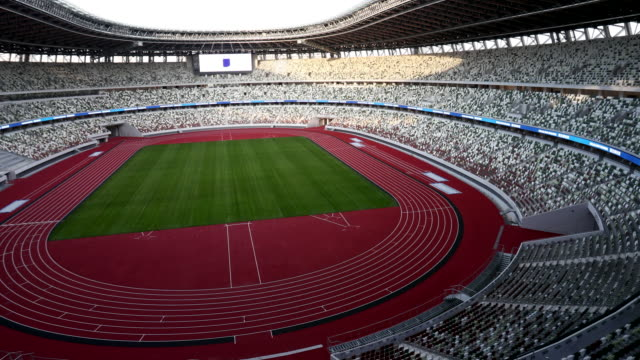 the new national stadium is seen during a media tour following by the construction completion ceremony on december 15 tokyo, japan. members of the... - sport venue stock videos & royalty-free footage