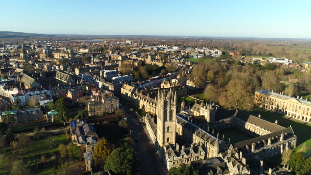 the new oxford city skyline aerial video - oxford england stock videos & royalty-free footage