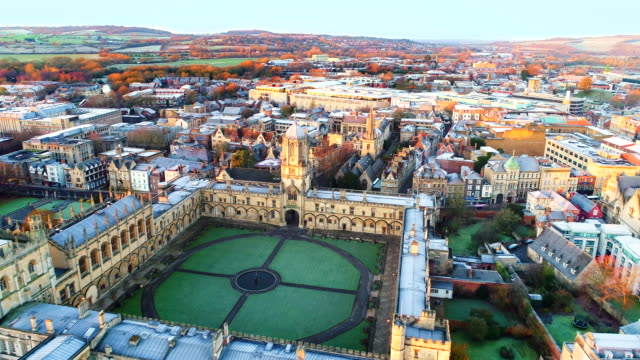 the new oxford city skyline aerial video - oxford england video stock e b–roll