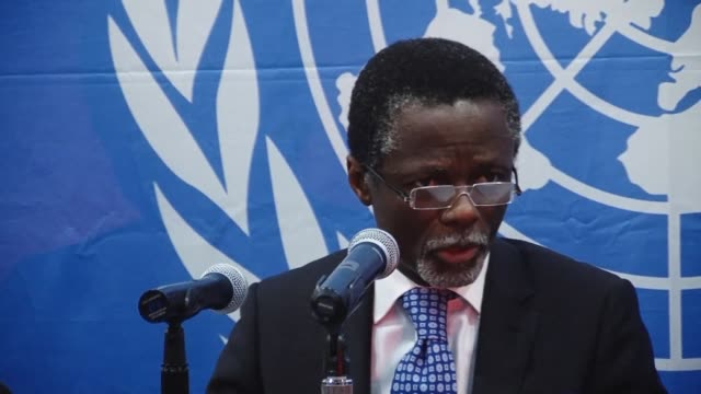 the new representative for the secretary general of the united nations in central african republic holds a press conference to bolster the uns image... - nackenrolle kopfkissen stock-videos und b-roll-filmmaterial