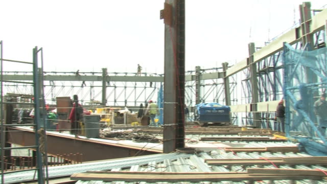 the new york daily news visits the 92nd floor of the new construction of the world trade center after the building was destroyed in the 9/11... - new york daily news stock videos and b-roll footage