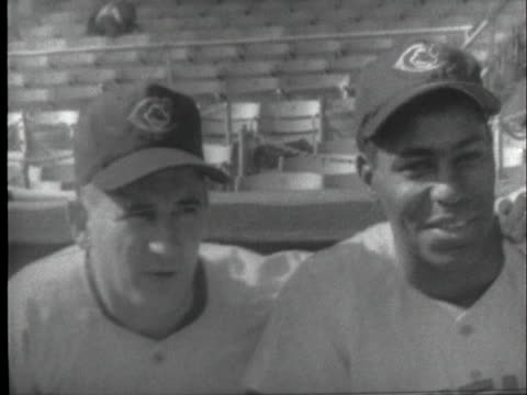 stockvideo's en b-roll-footage met the new york giants and the cleveland indians practice at the polo grounds on the eve of the 1954 world series. - sport