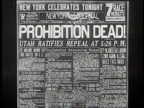 the new york journal announces the end of prohibition. - the end stock videos & royalty-free footage