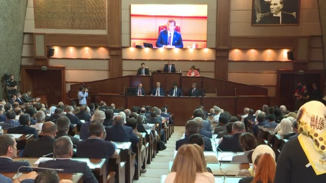 the newly elected opposition ekrem imamoglu presides over his first municipal assembly since his reelection on the 23rd june - istanbul stock videos & royalty-free footage