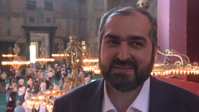 the newly-appointed imam of turkey's hagia sophia mosque expresses his honor and pleasure with the new duty saying the reopening of the historic... - religious symbol stock videos & royalty-free footage