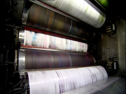 the news of the world newspaper rolls off the printing presses; 2002 - newspaper stock videos & royalty-free footage
