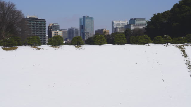 The next morning of winter snowstorm at Chiyoda-ku Tokyo Japan – January. 23 2018. High-rise buildings stand behind the bank of snowy Imperial Moat.