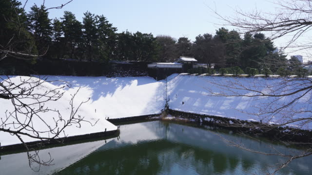The next morning of winter snowstorm at Chiyoda-ku Tokyo Japan – January. 23 2018. Snowy Hanzomon Gate is reflecting to the Imperial Palace Moat.