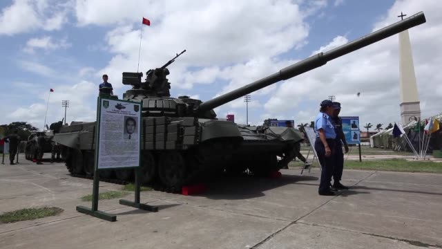 The Nicaraguan army puts a new Russianmade T72B1 main battle tank on display in Managua for the 37th anniversary of its armed forces