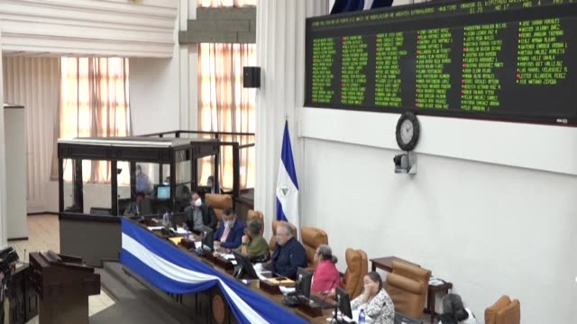 """the nicaraguan parliament approves a controversial law regulating """"foreign agents"""", aimed at controlling external resources received by individuals... - managua stock videos & royalty-free footage"""