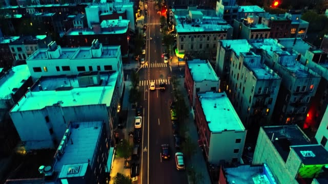 the night aerial view of the residential district in brooklyn, new york, usa - pavement stock videos & royalty-free footage