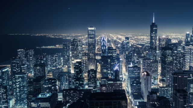t/l ha pan the night view of chicago - chicago illinois stock videos & royalty-free footage