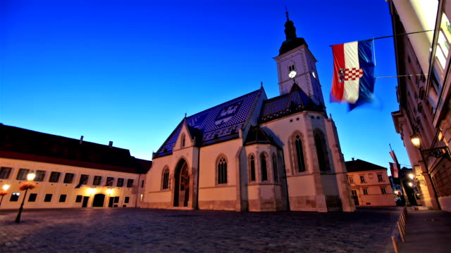 the night view of st. mark's church in zagreb old city - zagreb stock videos and b-roll footage