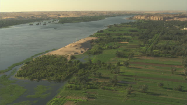 the nile river supplies water to agricultural lands in the egyptian nile delta. - north africa stock videos & royalty-free footage