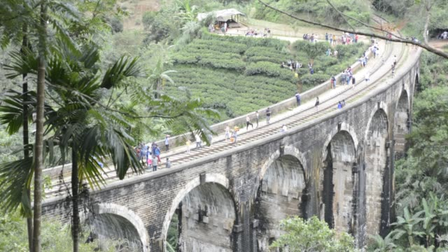 the nine arch bridge (also called the bridge in the sky, is a viaduct bridge in sri lanka. it is one of the best examples of colonial-era railway... - arch bridge stock videos & royalty-free footage
