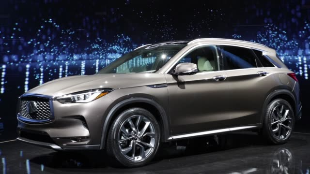 the nissan motor co infiniti qx50 sports utility vehicle is displayed during a reveal event in los angeles california us on tuesday nov 28 2017... - motor show stock videos and b-roll footage