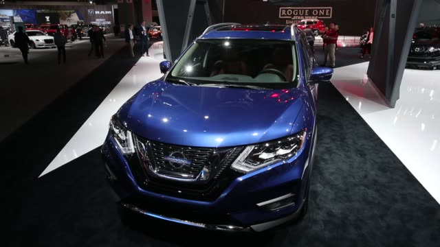 the nissan motor co rogue sports utility vehicle is displayed during automobility la ahead of the los angeles auto show in los angeles california us... - motor show stock videos and b-roll footage
