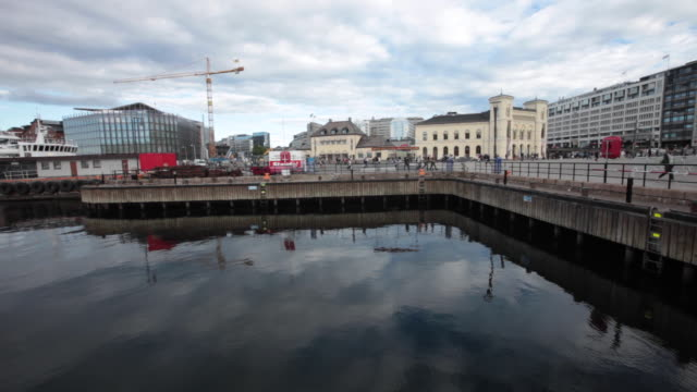 the nobel peace center and other public buildings seen from the oslo port. - other stock videos and b-roll footage