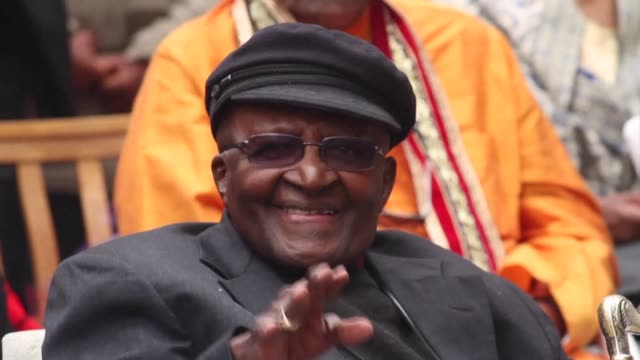 The Nobel Peace Prize winner Desmond Tutu celebrates his 86th birthday by officially opening a new art installation called Arch for Arch which...