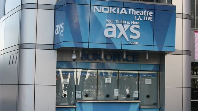 The Nokia Theatre and Nokia Plaza at LA Live in downtown Los Angeles California US Close up signage shots read Nokia Plaza in Los Angeles California...