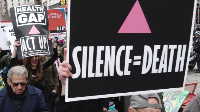 the non-partisan group act up commemorates its 30th anniversary of fighting aids – hiv / the group gathered at the aids memorial on the west village... - retrovirus stock videos & royalty-free footage