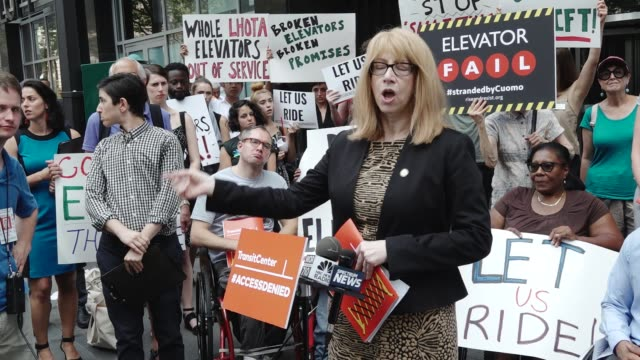 the nonprofit foundation transitcenter hosted the 'access denied press conference rally' outside the mta headquarters in downtown manhattan at 2... - hell's kitchen stock videos and b-roll footage