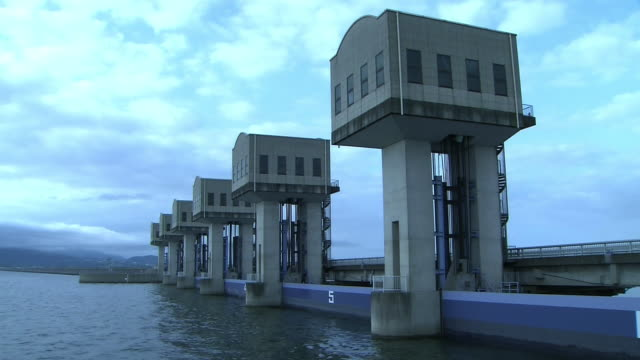 the north tide gate no 5 of isahaya bay on the ariake sea built by the government's reclamation project - ariake sea stock videos and b-roll footage