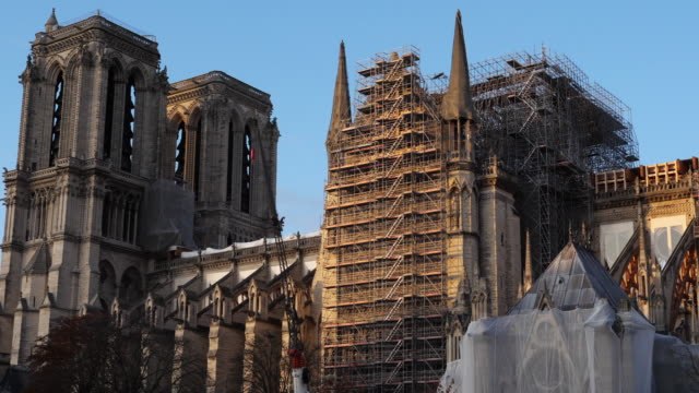 the notre dame cathedral, ile de la cité, paris, france - notre dame de paris stock videos & royalty-free footage