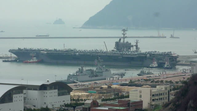 the nuclearpowered aircraft supercarrier uss john c stennis arrived in busan south korea on march 13 to take part in the key resolve military... - military exercise stock videos and b-roll footage