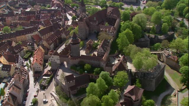 the nuremberg castle overlooks the city of nuremberg, bavaria, germany. - castello video stock e b–roll