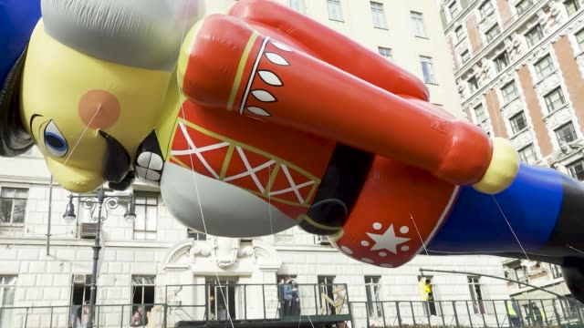 the nutcracker balloon 93rd macy's thanksgiving day parade in new york city via the upper west side of manhattan on thursday november 28 2019 - the nutcracker named work stock videos & royalty-free footage