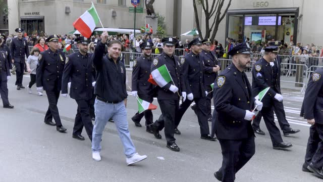 the nypd columbia association marches during the 77th annual columbus day parade via fifth avenue in midtown manhattan new york city on october 11,... - italian culture stock videos & royalty-free footage