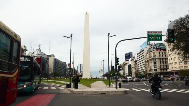 the obelisco is seen on september 30 2014 in buenos aires argentina - obelisk von buenos aires stock-videos und b-roll-filmmaterial
