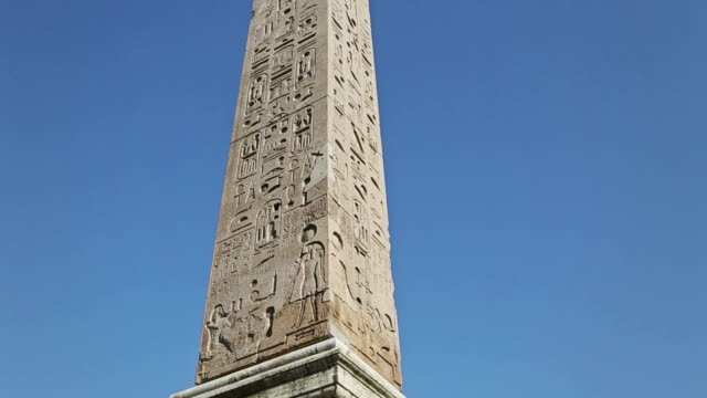 the obelisk at piazza del popolo in rome - obelisk stock videos & royalty-free footage