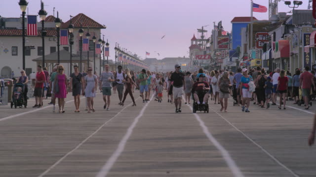 the ocean city boardwalk on a summer day. - boardwalk stock videos & royalty-free footage