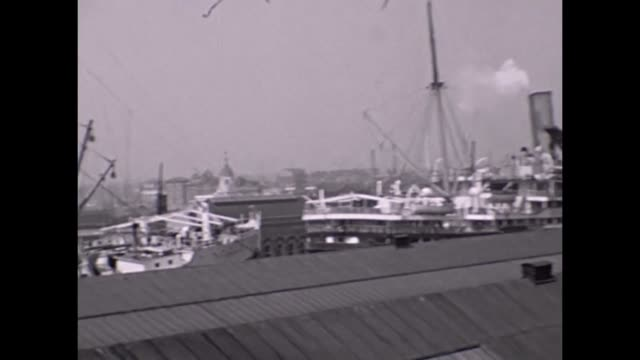 the ocean liner empress of australia docked at southampton with one other ship - 1930 stock videos & royalty-free footage