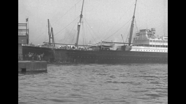 """the ocean liner """"nieuw amsterdam"""" arrives in new york harbor pushed by tugboats moving the ship into position - passagierschiff stock-videos und b-roll-filmmaterial"""