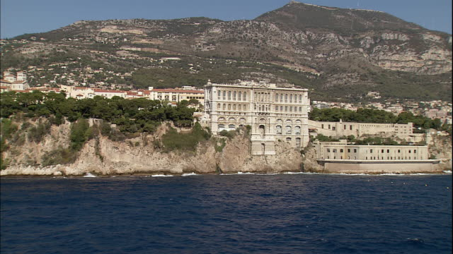 the oceanographic museum resides on the coast of monaco in the french riviera. - monaco stock videos and b-roll footage
