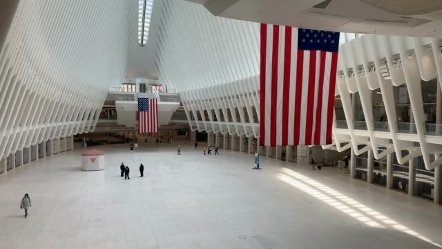 the oculus transportation hub and mall stands nearly deserted in lower manhattan during the coronavirus pandemic on april 17 2020 in new york city... - world trade center manhattan stock videos & royalty-free footage
