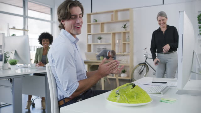 the office pranksters strike again - gelatin stock videos and b-roll footage