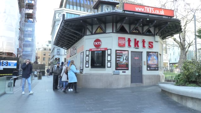 tkts the official london theatre ticket booth leicester square on february 03 2019 in london england - ticket counter stock videos & royalty-free footage