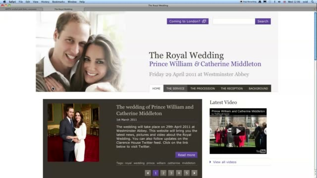 vídeos de stock, filmes e b-roll de the official website for the wedding of prince william and kate middleton went online wednesday a hub of information on the upcoming nuptials... - papel em casamento