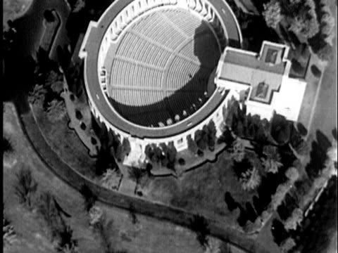 1935 B/W AERIAL The old Amphitheater in Washington D.C. / United States / AUDIO
