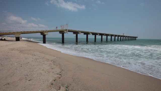 the old and abandoned sea bridge at shkorpilovci beach in bulgaria - 1977 stock videos & royalty-free footage