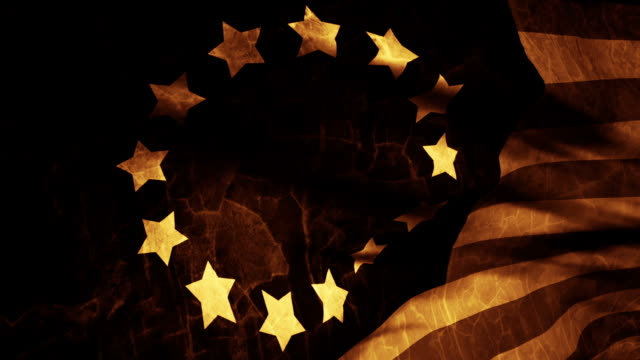 stockvideo's en b-roll-footage met the old betsy ross american flag waves in the breeze. - monochroom