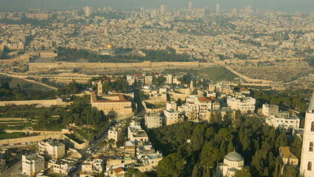 The old City of Jerusalem and the olive mountain aerial shot