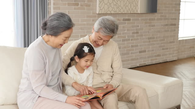 the old couple reads a book with the granddaughter sitting on the couch - アクティブシニア点の映像素材/bロール