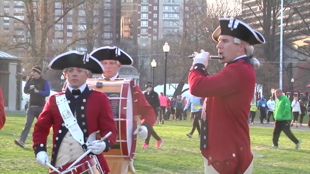 the old guard travels to boston ma to participate in patriot's day celebrations - lexington massachusetts stock videos & royalty-free footage