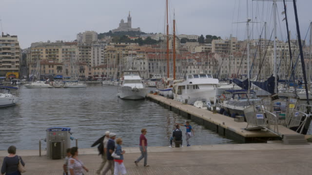 the old harbor of marseille - notre dame de la garde marseille stock videos and b-roll footage