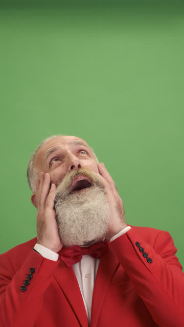 the old man looks up and rejoices at what he saw. one person.close-up - shirt and tie stock videos & royalty-free footage